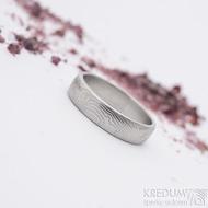 Prima, překované dřevo - velikost 60,5, šířka 5,1 mm, tloušťka 1,5 mm, lept světlý, profil B - Damasteel snubní prsten - sk2658 (2)