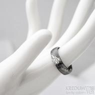 Prima Princezna a zirkon 3,5 mm - 58, š 5,5 mm, tl. 1,5 mm, profil B, dřevo 75% TM - Damasteel zásnubní prsten - sk1767
