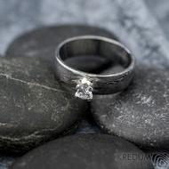 Prima Princezna a zirkon 3,5 mm - 58, š 5,5 mm, tl. 1,5 mm, profil B, dřevo 75% TM - Damasteel zásnubní prsten - sk1767 (3)