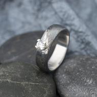 Prima Princezna a zirkon 3,5 mm - 58, š 5,5 mm, tl. 1,5 mm, profil B, dřevo 75% TM - Damasteel zásnubní prsten - sk1767 (4)