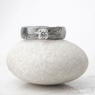 Prima Princezna a zirkon 3,5 mm - 58, š 5,5 mm, tl. 1,5 mm, profil B, dřevo 75% TM - Damasteel zásnubní prsten - sk1767 (2)