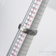 Prima Princezna a zirkon 3,5 mm - 58, š 5,5 mm, tl. 1,5 mm, profil B, dřevo 75% TM - Damasteel zásnubní prsten - sk1767 (6)