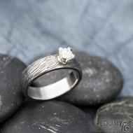 Prima Princezna zirkon 4,5 mm - 53, š 5mm, tl 1,8 mm, korunka 3,5 mm, voda 75TM, B - damasteel zásnubní prsten, SK1638 (8)