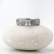Prima Princezna zirkon 4,5 mm - 53, š 5mm, tl 1,8 mm, korunka 3,5 mm, voda 75TM, B - damasteel zásnubní prsten, SK1638 (4)