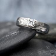 Prima Princezna zirkon 4,5 mm - 53, š 5mm, tl 1,8 mm, korunka 3,5 mm, voda 75TM, B - damasteel zásnubní prsten, SK1638 (6)