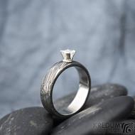 Prima Princezna zirkon 4,5 mm - 53, š 5mm, tl 1,8 mm, korunka 3,5 mm, voda 75TM, B - damasteel zásnubní prsten, SK1638 (7)