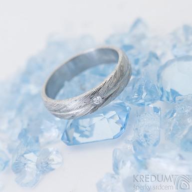 Prima s linkou a čirý diamant 1,7 mm - 52, šířka 4,5 mm, tloušťka 1,5 mm, voda 75% SV, B - Damasteel zásnubní prsten, SK2507 (6)