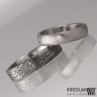 Prima - snubní prsteny damasteel, struktura voda, lept 50%, profil B, šířka 5-mm