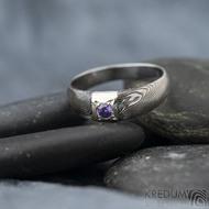 Prima Space se zirkonem 3 mm - velikost 55, čířka hlavy 5,5 mm do dlaně 3,2 mm, tloušťka 1 - 2,6, dřevo 75TM - Damasteel zásnubní prsten, SK1635 (12)