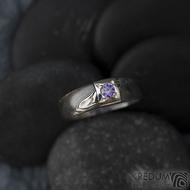 Prima Space se zirkonem 3 mm - velikost 55, čířka hlavy 5,5 mm do dlaně 3,2 mm, tloušťka 1 - 2,6, dřevo 75TM - Damasteel zásnubní prsten, SK1635 (7)