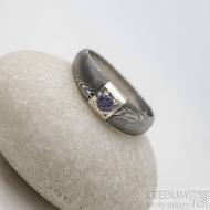 Prima Space se zirkonem 3 mm - velikost 55, čířka hlavy 5,5 mm do dlaně 3,2 mm, tloušťka 1 - 2,6, dřevo 75TM - Damasteel zásnubní prsten, SK1635