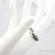 Prima Space se zirkonem 3 mm - velikost 55, čířka hlavy 5,5 mm do dlaně 3,2 mm, tloušťka 1 - 2,6, dřevo 75TM - Damasteel zásnubní prsten, SK1635 (3)