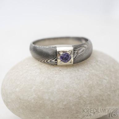 Siona Space a broušený kámen 3 mm, dřevo - Damasteel zásnubní prsten