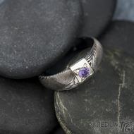 Prima Space se zirkonem 3 mm - velikost 55, čířka hlavy 5,5 mm do dlaně 3,2 mm, tloušťka 1 - 2,6, dřevo 75TM - Damasteel zásnubní prsten, SK1635 (10)