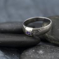 Prima Space se zirkonem 3 mm - velikost 55, čířka hlavy 5,5 mm do dlaně 3,2 mm, tloušťka 1 - 2,6, dřevo 75TM - Damasteel zásnubní prsten, SK1635 (11)