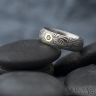 Prima vítr a čirý diam. 2 mm - vel 50 s CF, šířka 5,7 mm, tloušťka 2 mm, lept 75% světlý, profil D - Damasteel prsten - sk1640 (6)