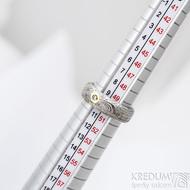 Prima vítr a čirý diam. 2 mm - vel 50 s CF, šířka 5,7 mm, tloušťka 2 mm, lept 75% světlý, profil D - Damasteel prsten - sk1640 (2)