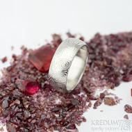 Prima vítr - velikost 54, šířka 7 mm, tloušťka 1,6 mm, lept 75% světlý, profil B - Damasteel snubní prsteny - sk1707 (3)