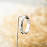 Prima - vítr - velikost 59, šířka 4,6 mm, tloušťka 1,6 mm, lept 75% světlý, profil B - Damasteel snubní prsteny - sk1705 (2)