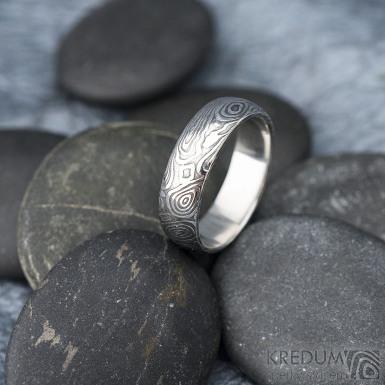 Prima vítr - velikost 61, šířka 6,2 mm, tloušťka 1,7 mm, 100% zatmavený, profil B - Snubní prsten damasteel, SK1704 (3)
