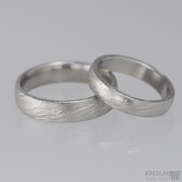 Prima - snubní prsteny damasteel, struktura voda, lept 25% a 50%