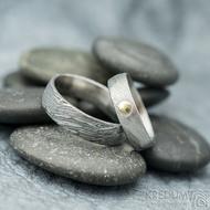 Prima voda a zlatý suk 3 mm - 53, 5 mm, 1,5 mm, lept 50% SV, E a Prima - 63, 6 mm, 100 TM, E - Damasteel snubní prsteny - k 1757