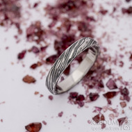 Prima, voda - velikost 55,5, šířka 3,8 mm, tloušťka 1,5 mm, 100% TM, B - Damasteel snubní prsten, SK2660 (3)