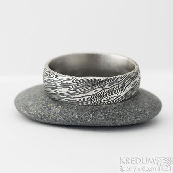 Prima voda - velikost 61, šířka 6,5 mm, tloušťka 1,7 mm, lept 100% TM, profil E - Damasteel kované snubní prsteny - sk1981 (2)