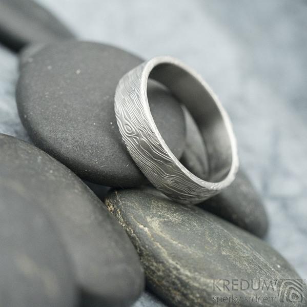 Prima - voda, velikost 62, šířka 5,5 mm, tloušťka 1,4 mm, lept 75% SV, profil C - Damasteen snubní prsteny - sk1975 (4)