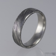 Prima - snubní prsteny damasteel, struktura voda, lept 75% zatmavený, profil F