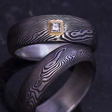 PRIMA + diamant princes 2 x 2 mm ve zlatě - Snubní prsten damasteel