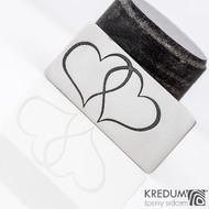 Spojená srdce - Nerezový přívěsek a leptané srdce, produkt SK1419 - polotovar bez dírky