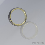 Orion Natura - Zlatý snubní prsten a damasteel