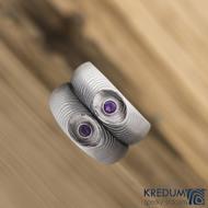 prsten Eli damasteel ametyst 3 mm stříbro, SK1276 - velikost 53 šířka hlavy 7,2 mm / do dlaně 5,2 mm tloušťka hlavy 2,9 mm / do dlaně 1,8 mm Struktura čárky - lept 75% světlý