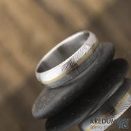 Golden line - prsten damasteel a zlato, S2230