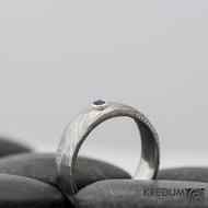 prsten natura damasteel ametyst 2,5 mm do stříbra -velikost 52, šířka 5,5 mm - S821 - k 0159 (8)