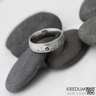 prsten natura damasteel ametyst 2,5 mm do stříbra -velikost 52, šířka 5,5 mm - S821