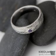 Natura a broušený ametyst do stříbra - snubní prsten kovaná nerezová ocel damasteel, produkt č. 821