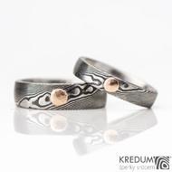 Snubní prsten kovaná nerezová ocel damasteel - PRIMA + zlatý suk do 3 mm - červené zlato