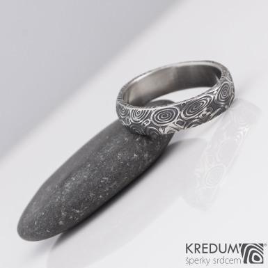 Rocksteel kolečka - Snubní prsten damasteel, S2148