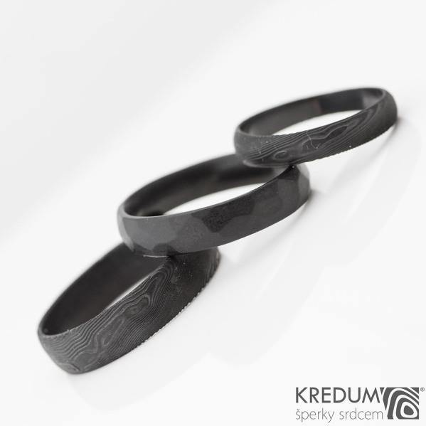 černění povrchu DLC - prsteny Prima (damasteel) a Skalák (nerez)