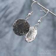 Puklík natura - Kované damasteel náušnice, SK1595