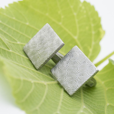 Quatro - Kované manžetové knoflíčky damasteel - kolečka SK2884 (6)