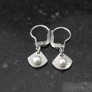 Raníčky dětské - dřevo + stříbrná klapka - Kované damasteel naušnice a perly - k 1390 (3)