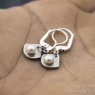 Raníčky dětské - dřevo + stříbrná klapka - Kované damasteel naušnice a perly - k 1390 (6)