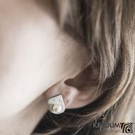 Raníčky - dřevo - Kované damasteel naušnice a perly - SK1486 (3)