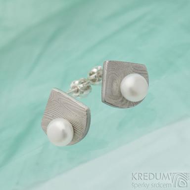 Raníčky - dřevo - Kované damasteel naušnice a perly - SK2478 (3)