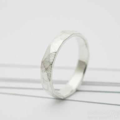 Rock silver hrubý mat stříbrný snubní prsten