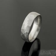 Rocksteel - 57, šířka 6 mm, tloušťka střední, dřevo lept 75% SV matný - Damasteel snubní prsteny, k 2266