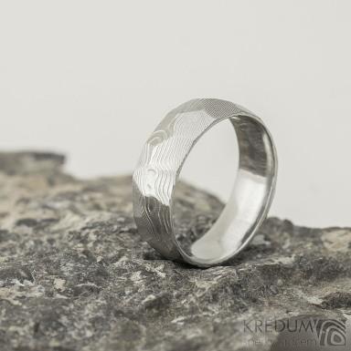 Rocksteel - dřevo, světlý - Snubní prsten z oceli damasteel
